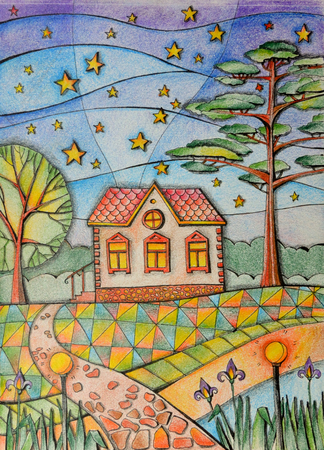 Summer night in village. Small country house in the garden. Beautiful landscape with trees and starry sky. Drawing by colored pencils.