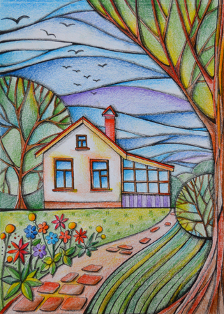 Summer day in village. Small country house in the garden with flowers, trees and paved path. Drawing by colored pencils. Stock Photo