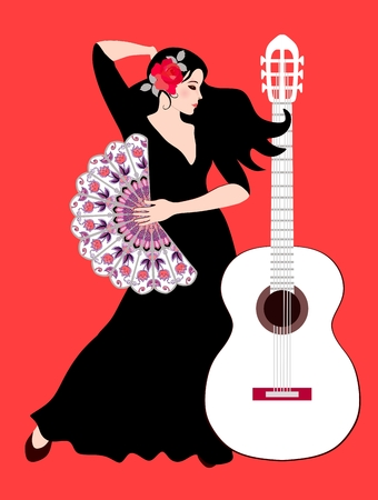 Beautiful Spanish girl - flamenco dancer with rose on her hair and with fan in her hand and white guitar on bright red background.