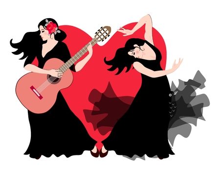 The girl is a guitarist and a girl flamenco dancer dressed in black dresses perform on stage against the backdrop of a huge red heart.