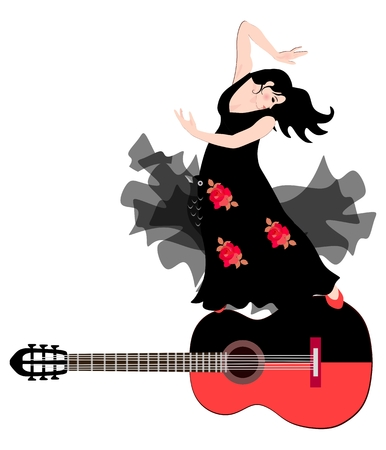 Spanish girl in a black dress with red roses is dancing flamenco with a shawl in the form of a fairy-tale bird on a big black-red guitar.