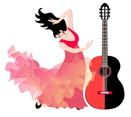 Spanish girl - flamenco dancer and big black and red guitar isolated on white background.