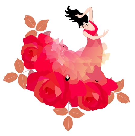 beautiful shawl, like a fabulous bird. Large red roses symbolize a blooming garden.