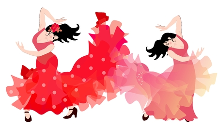 Two spanish girls in long red dresses dancing flamenco.  イラスト・ベクター素材