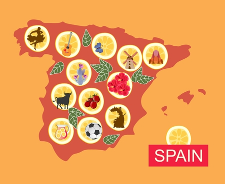Map of Spain with various national symbols on pieces of lemon. Stock Illustratie