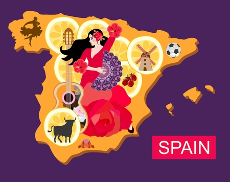 Stylized spain map with flamenco dancer girl, guitar, black bull, mill, football, pieces of lemon and toreador silhouette. Stock Illustratie