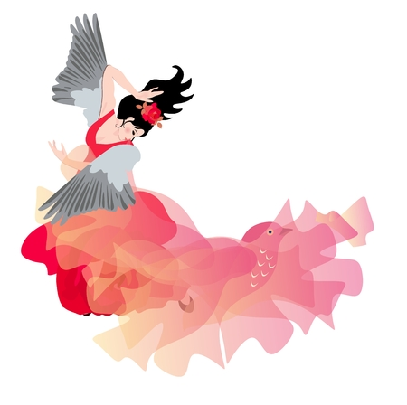 Winged girl dancing flamenco with a shawl in the form of a flying bird. Beautiful card. Space for text. 向量圖像