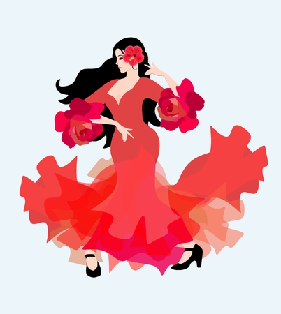 Spanish girl in a long red dress with ruffles on the sleeves in the form of roses dancing flamenco. The symbol of Spain.