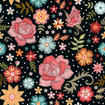Embroidery seamless pattern with roses and fantasy flowers. Colorful embroidered print for fabric and textile.