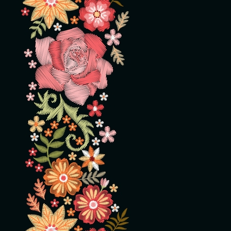 Floral embroidery. Vertical seamless line with pretty flowers on black background. Romantic template for greeting and invitations cards with place for text. Fashion design.