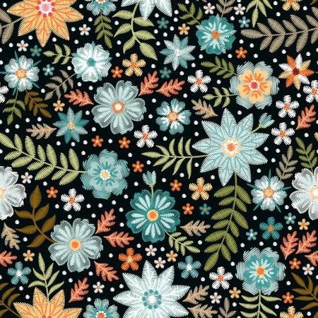 Embroidery ditsy seamless pattern with beautiful wild flowers. Floral print for fabric and textile. Vector embroidered illustration.