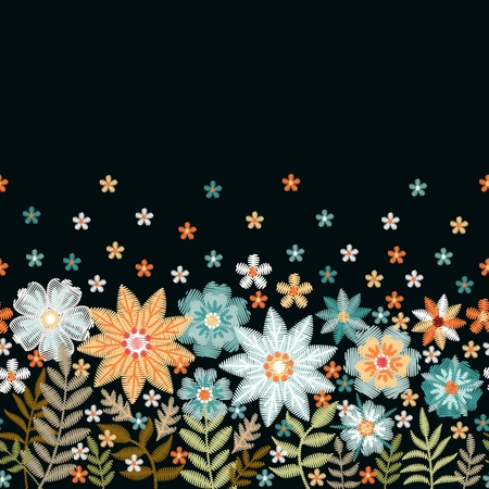 Embroidery. Seamless embroidered border with summer flowers and leaves. Vector illustration.