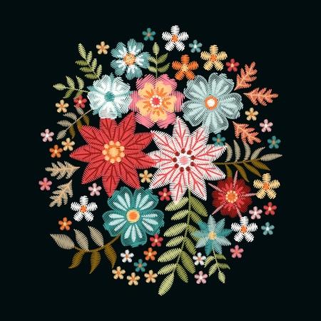 Composición de bordado con flores de fantasía. Bonito ramo sobre fondo negro. Ilustración de vector floral.