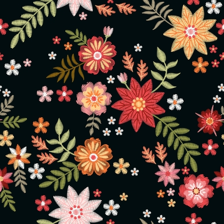 Bright embroidery seamless pattern with wild flowers. Fashion print for summer clothing.