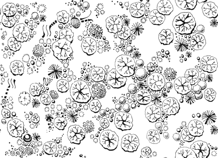 Black and white seamless pattern with forest top view. Different trees and plants. Hand drawn vector illustration. Ilustracja