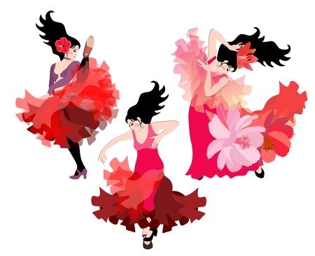 Three Spanish girls dancing flamenco isolated on white background. Illustration