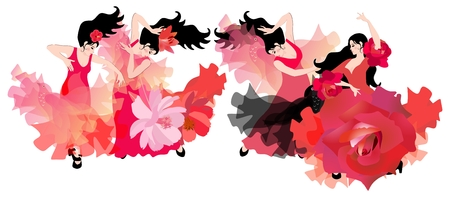 The ensemble of Spanish dance. Four beautiful black-haired girls in red dresses dancing flamenco. Luxury composition on a white background.