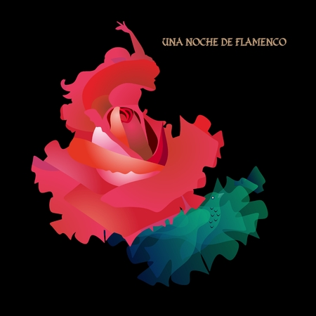 Flamenco night (text in spanish). Silhouette of a dancing girl in the form of a rose and a translucent green manton in the shape of a flying bird. Banner, poster.