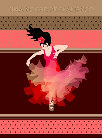 Flamenco night (text in spanish). Young girl in a red dress with a shawl in the form of a flying bird is dancing on a polka dot background. Invitation card, poster.