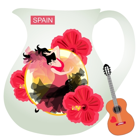 Symbols of Spain. A pitcher for sangria with a drawn girl dancing flamenco against the backdrop of a huge piece of lemon and hibiscus flowers. Little spanish guitar is leaning against a jug. Stock Illustratie