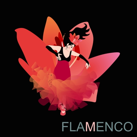 Sexy Spanish girl dressed in a long dress with a hem looks like a big lily flower, dancing flamenco with a shawl in the shape of a flying bird, isolated against a black background. 矢量图像