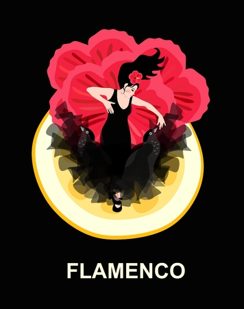 Spanish dancer dressed in a black dress with a hem in the shape of flying birds dancing flamenco against the backdrop of a huge piece of lemon and red hibiscus flowers.