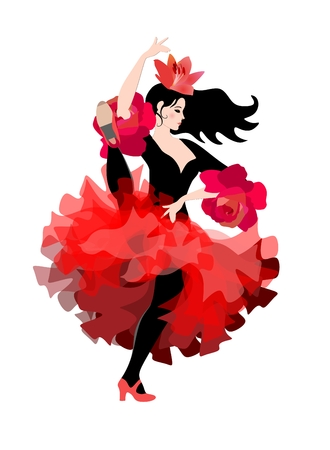 Spanish ballerina in a red-black suit with a lily flower in her hair dancing flamenco provocatively,  isolated on white background in vector.