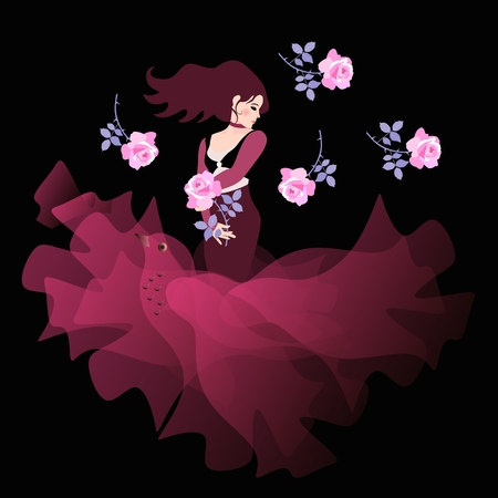 Beautiful Spanish girl in cherry color dress with hem, like a flying bird, stands with a flower in his hand on a black background. Light pink roses fall from above.