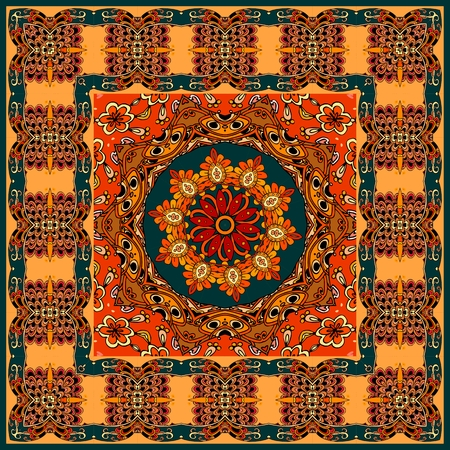 Beautiful pashmina, tablecloth or pillowcase with ornamental frame and mandala flower in oriental style. 向量圖像