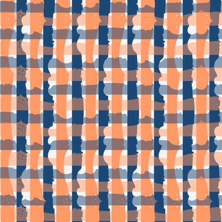 Seamless fantasy checkered pattern in blue and orange colors.