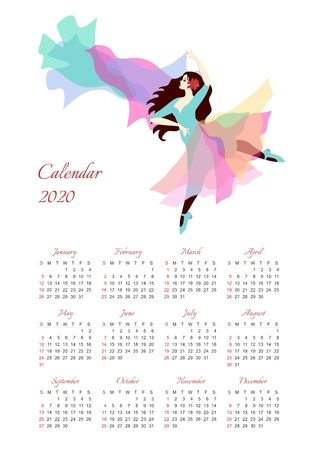 Calendar for 2020 year with illustration of beautiful dancing girl on white background.