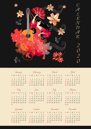 Calendar for 2020 year. Beautiful design with girl in red dress, with fan in her hands, dancing flamenco against black background with falling flowers.
