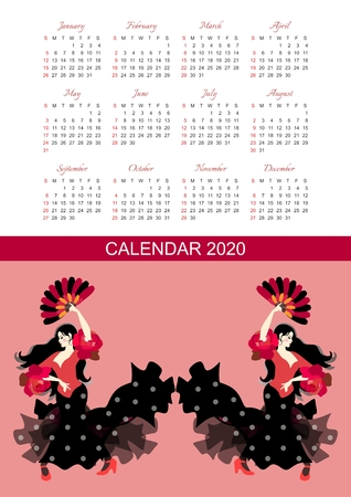 Calendar for 2020 year. Vector design with beautiful girls with fans in their hands, dancing flamenco.