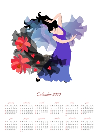 Beautiful calendar for 2020 year with illustration with girl in a long lilac dress dancing flamenco with a black shawl with red flowers and hearts in the shape of a flying fairy bird.
