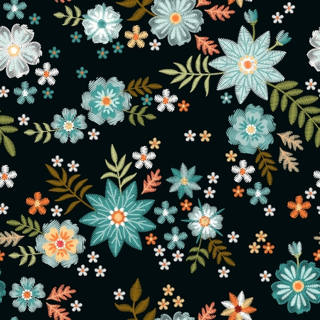 Embroidery seamless pattern with beautiful blue wild flowers. Fancywork. Trendy print for fabric and textile. Illusztráció