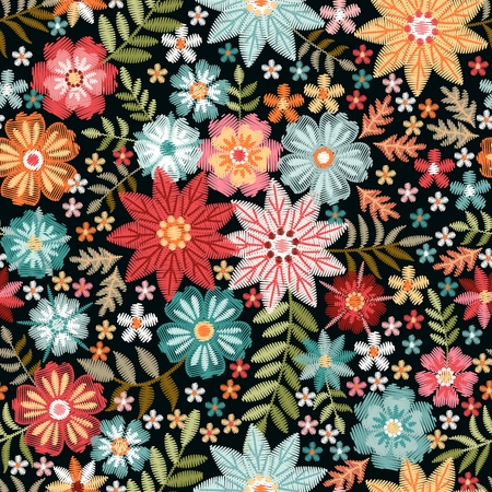 Embroidery colorful flowers. Ditsy seamless pattern with beautiful floral ornament. Trendy print for fabric.