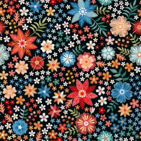 Embroidery seamless pattern with bright colorful flowers. Spring or summer fashion design. Vector illustration. Stock fotó - 122529918