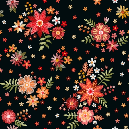 Embroidery seamless pattern with beautiful flowers. Floral ornament on black background. Fashion print for fabric and textile.