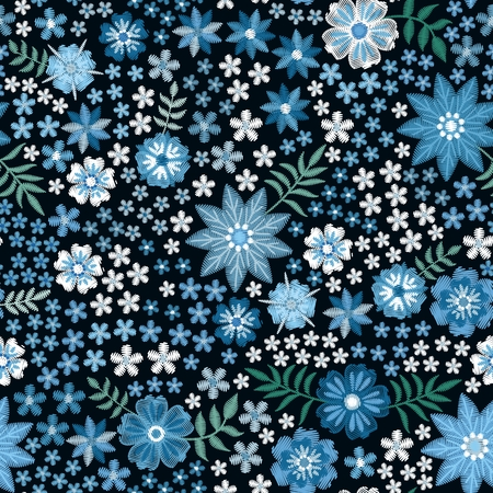Trendy floral embroidery print. Seamless pattern with embroidered flowers in blue colors. Stock fotó - 122529920