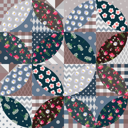 Seamless patchwork pattern from patches with floral and geometric ornament in soft colors. Quilt design.
