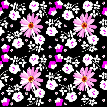 Seamless motley floral pattern with rose, daisy and bell flowers on black background. Vektorové ilustrace