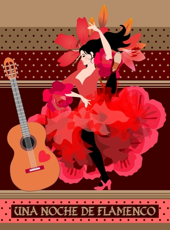 Chocolate packaging design. Young spanish dancer and guitar on decorative polka dot background. Flamenco night.  イラスト・ベクター素材