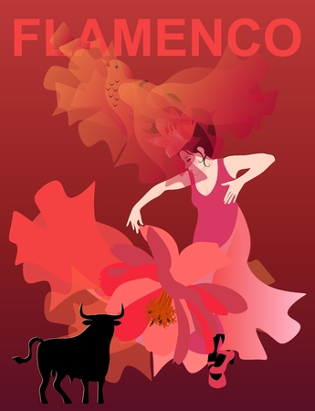 Woman in a red dress dancing flamenco on a red background. The translucent manton, thrown upwards, looks like a flying bird. Black bull silhouette as unofficial symbol of Spain.