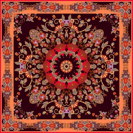 Festive bandana print with bright mandala and ornamental frame. Lovely tablecloth in oriental style. 矢量图片