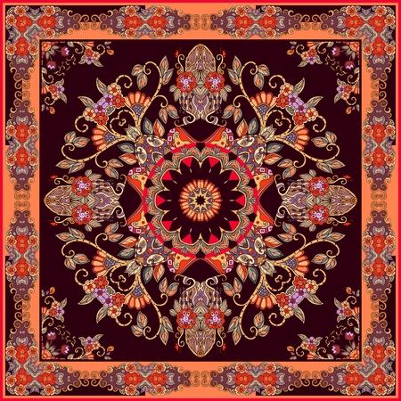 동양 스타일의 정사각형 장식 목도리 또는 카펫.