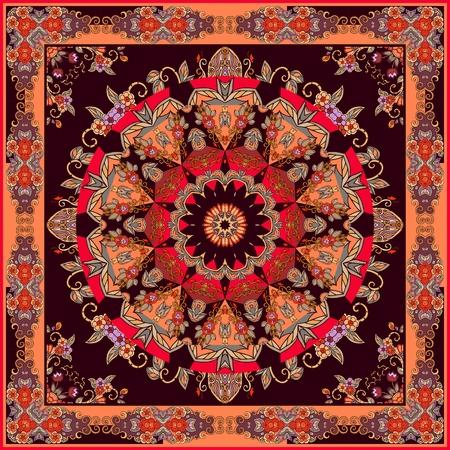 Square carpet with beautiful mandala flower and ornamental frame. Fashionable silk scarf.