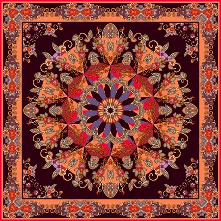 Beautiful bandana print with ornamental frame and mandala flower. Indian, arabian, turkish motifs.