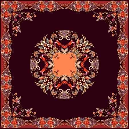 Tablecloth or square shawl with beautiful natural ornament on dark brown background.  イラスト・ベクター素材
