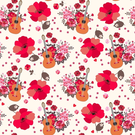 Seamless artistic pattern with huge poppies, acoustic guitars and bunchs of ggarden flowers. Print for fabric, wallpaper. Vettoriali