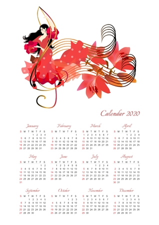 Calendar for 2020 year with beautiful girl in a red dress dancing on the treble clef and bouquet of lilies on the music line as notes.